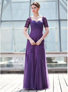 A-Line/Princess Sweetheart Floor-Length Tulle Mother of the Bride Dress With Ruffle Lace Beading Sequins