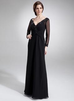 Vestidos princesa/ Formato A Decote V Longos De chiffon Vestido para a mãe da noiva com Pregueado Renda Bordado