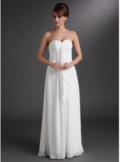 Empire Sweetheart Floor-Length Chiffon Wedding Dress With Ruffle (002001334)
