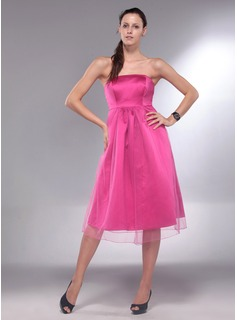 A-Line/Princess Strapless Knee-Length Satin  Tulle Maternity Bridesmaid Dresses With Ruffle (045013064)