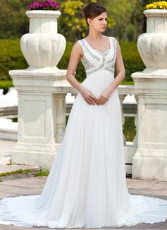 Corte A/Princesa Escote corazón Cola capilla Chifón Vestido de novia con Volantes Bordado