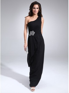 Sheath One-Shoulder Floor-Length Chiffon Mother of the Bride Dress With Ruffle Beading (008022446)
