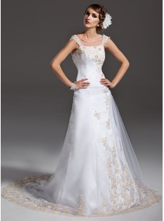 A-Line/Princess Off-the-Shoulder Court Train Satin Tulle Wedding Dress With Ruffle Lace Beading