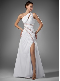 A-Line/Princess One-Shoulder Sweep Train Chiffon Prom Dress With Ruffle Beading Split Front