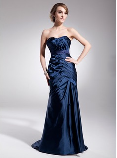 Mermaid Sweetheart Sweep Train Charmeuse Evening Dress With Ruffle (017014565)