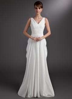 A-Linie/Princess-Linie V-Ausschnitt Gericht Schleppe Chiffon Brautkleid mit Rüschen