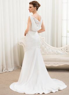 Trumpet/Sjöjungfru V-ringning Court släp Chiffong Tyll Bröllopsklänning med Rufsar Spetsar Pärlbrodering Paljetter