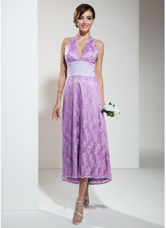 A-Line/Princess Halter Asymmetrical Lace Bridesmaid Dress With Ruffle Beading