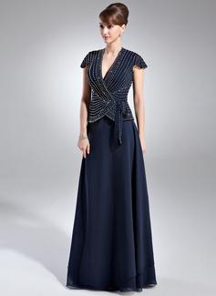 Corte A/Princesa Escote en V Hasta el suelo Chifón Vestido de madrina con Bordado