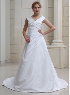 A-Line/Princess Off-the-Shoulder Court Train Taffeta Wedding Dress With Ruffle (002012105)
