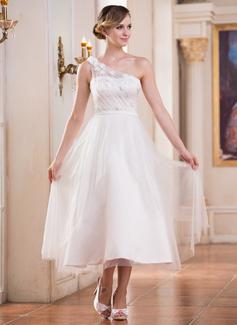 Corte A/Princesa Un sólo hombro Hasta la tibia Satén Tul Vestido de novia con Volantes Flores Lentejuelas