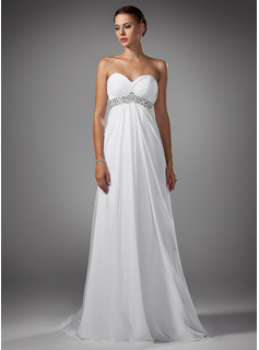Empire Sweetheart Sweep Train Chiffon Wedding Dress With Ruffle Beadwork