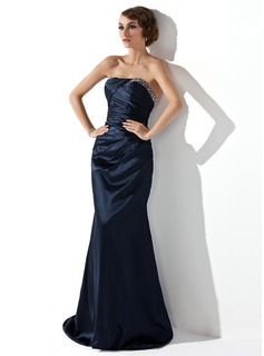 Trumpet/Mermaid Strapless Sweep Train Charmeuse Evening Dress With Ruffle Beading