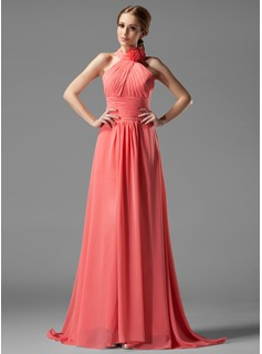 A-Line/Princess Halter Sweep Train Chiffon Bridesmaid Dress With Ruffle Flower