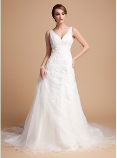 A-Line/Princess V-neck Chapel Train Organza Satin Wedding Dress With Ruffle Lace Beading (002000378)