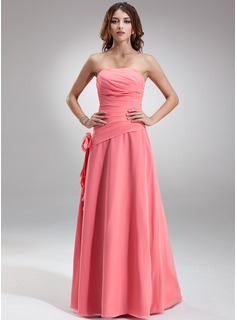 A-Line/Princess Strapless Floor-Length Chiffon Bridesmaid Dress With Ruffle Flower