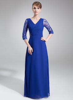 A-Linie/Princess-Linie V-Ausschnitt Bodenlang Chiffon Tüll Kleid für die Brautmutter mit Rüschen Spitze Perlen verziert