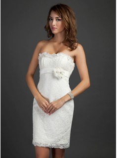 Sheath Strapless Knee-Length Satin Lace Cocktail Dress With Beading Flower(s) (016015339)