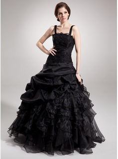 Ball-Gown Square Neckline Floor-Length Taffeta Organza Lace Quinceanera Dress With Ruffle Beading (021002873)