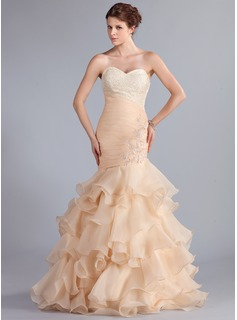 Mermaid Sweetheart Floor-Length Organza Prom Dress With Ruffle Lace Beading