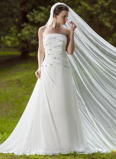 Corte A/Princesa Estrapless Tren de la corte Chifón Vestido de novia con Volantes Bordado