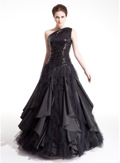 A-Line/Princess One-Shoulder Floor-Length Taffeta Tulle Sequined Prom Dress With Ruffle