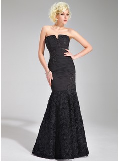 Trumpet/Mermaid V-neck Floor-Length Chiffon Evening Dress With Ruffle Beading Appliques Lace Flower(s)