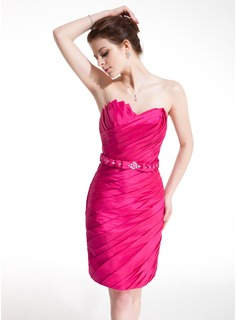 Sheath Scalloped Neck Short/Mini Taffeta Cocktail Dress With Ruffle Beading (016008386)