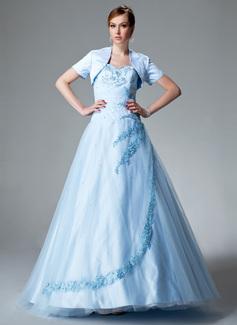 Duchesse-Linie Herzausschnitt Bodenlang Satin Tüll Quinceañera Kleid (Kleid für die Geburtstagsfeier) mit Rüschen Perlen verziert Applikationen Spitze