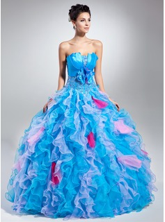 Ball-Gown Scalloped Neck Floor-Length Organza Charmeuse Quinceanera Dress With Beading Flower(s) Cascading Ruffles