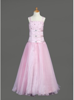 A-Line/Princess Floor-Length Organza Satin Flower Girl Dress With Ruffle Beading