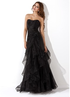 Corte A/Princesa Escote corazón Vestido Organdí Vestido de noche con Cascada de volantes