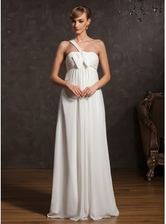 Empire One-Shoulder Floor-Length Chiffon Chiffon Maternity Bridesmaid Dress With Ruffle Bow(s)
