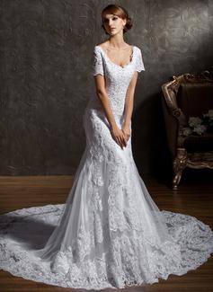 Corte trompeta/sirena Escote corazón Tren de la catedral Satén Tul Vestido de novia con Encaje Bordado