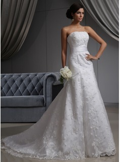 A-Line/Princess Strapless Chapel Train Satin Tulle Wedding Dress With Lace