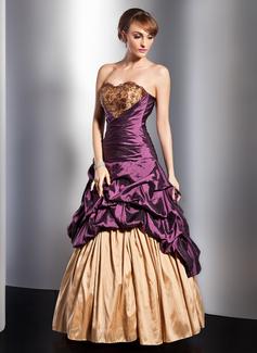 A-Linie/Princess-Linie Herzausschnitt Bodenlang Taft Quinceañera Kleid (Kleid für die Geburtstagsfeier) mit Rüschen Spitze Perlen verziert Blumen