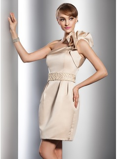 Sheath/Column One-Shoulder Short/Mini Satin Wedding Dress With Beadwork