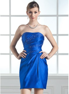 Sheath/Column Sweetheart Short/Mini Satin Homecoming Dress With Ruffle Beading