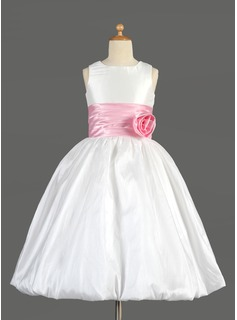 Empire Scoop Neck Tea-Length Taffeta Charmeuse Flower Girl Dress With Sash Flower(s)