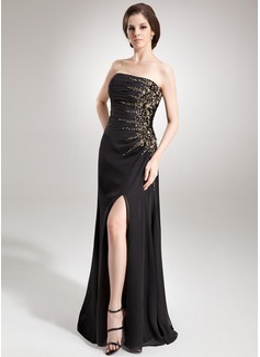 Corte A/Princesa Estrapless Vestido Chifón Vestido de noche con Volantes Bordado Lentejuelas Apertura frontal