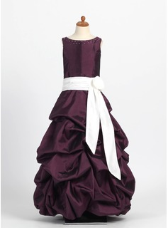 A-Line/Princess Scoop Neck Floor-Length Taffeta Flower Girl Dress With Ruffle Sash Beading
