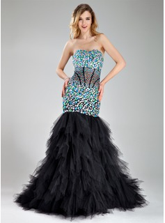Trumpet/Mermaid Sweetheart Court Train Tulle Prom Dress With Beading Cascading Ruffles