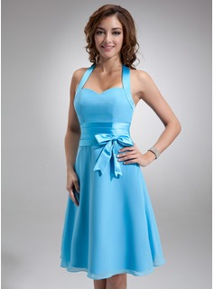 A-Line/Princess Halter Knee-Length Chiffon Satin Bridesmaid Dress With Ruffle (007000937)