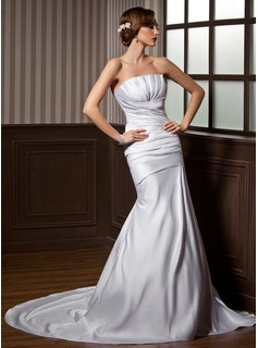 Mermaid Scalloped Neck Chapel Train Satin Wedding Dress With Ruffle (002000607)