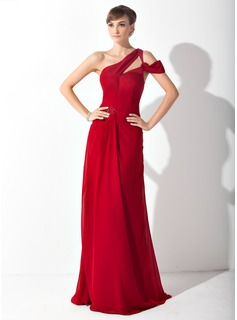 Sheath One-Shoulder Sweep Train Chiffon Mother of the Bride Dress With Ruffle Beading (008015149)
