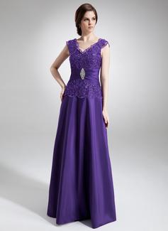 Vestidos princesa/ Formato A Decote V Longos Tafetá Vestido para a mãe da noiva com Pregueado Bordado