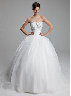 Ball-Gown Sweetheart Court Train Satin Tulle Wedding Dress With Ruffle Lace Beadwork (002011973)