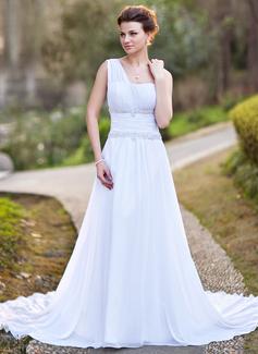 Corte A/Princesa Un sólo hombro Cola capilla Chifón Vestido de novia con Volantes Bordado Los appliques Encaje