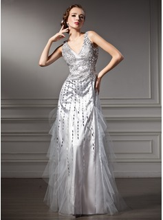 A-Line/Princess V-neck Floor-Length Tulle Charmeuse Holiday Dress With Beading Sequins