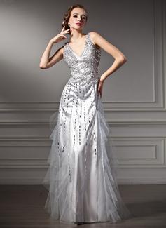 A-Linie/Princess-Linie V-Ausschnitt Bodenlang Tüll Charmeuse Festliche Kleid mit Perlen verziert Pailletten